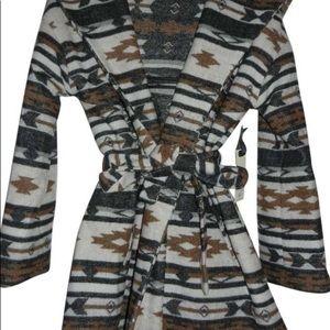 BB Dakota Tribal Print Wrap Coat